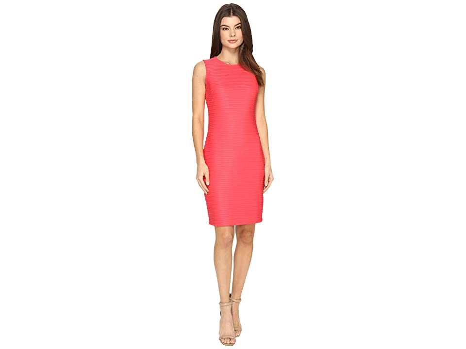 Calvin Klein Sleeveless Sheer Stripe Dress (Watermelon) Women