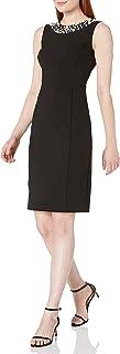 Women's Sheath Dress with Pearl Neck