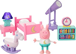 Peppa Pig Little Rooms Goodnight Peppa Playset, 6 Pieces - Includes Peppa Figure, Bed, Rocking Horse, Telescope, Book Shel...