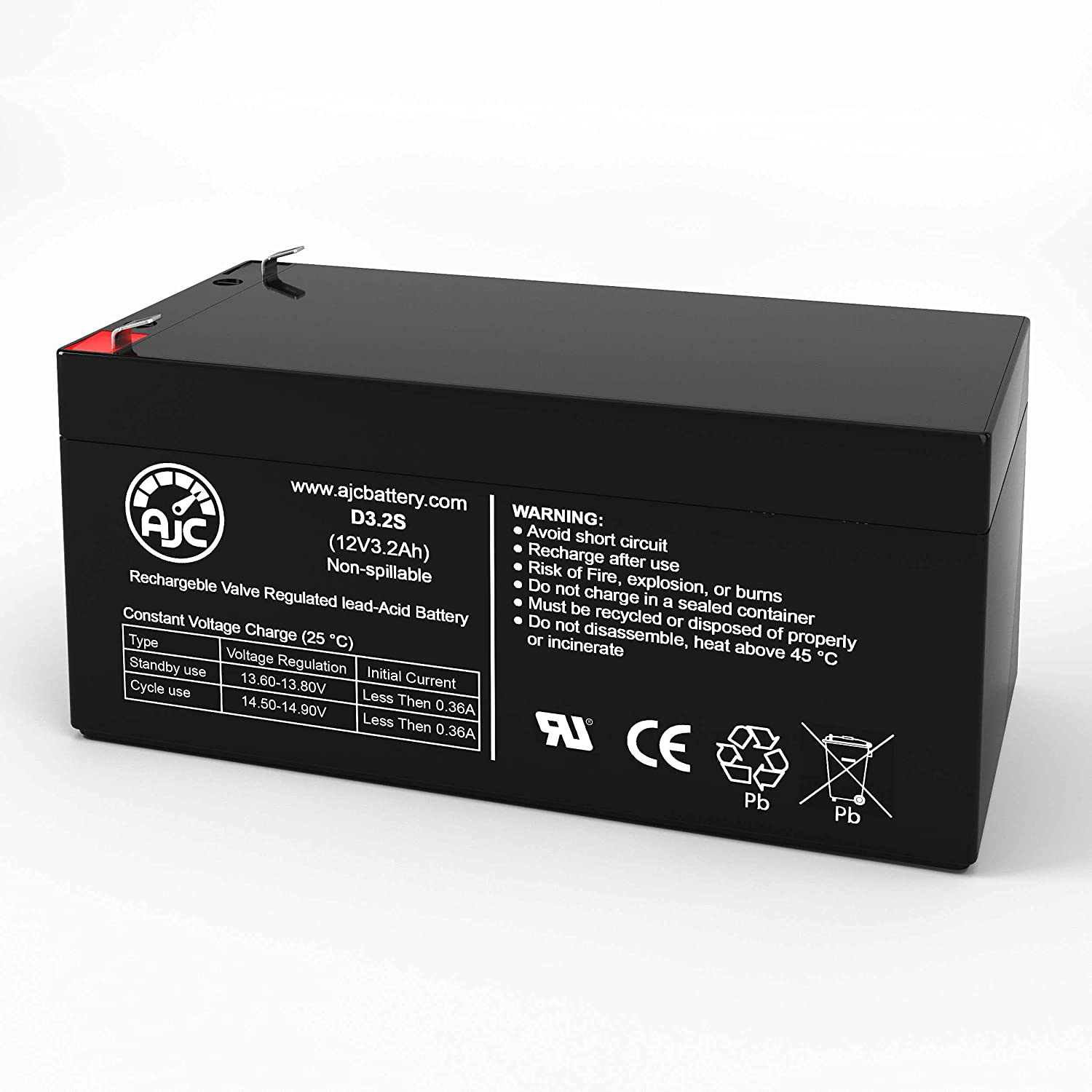 AJC Battery Compatible with Opti-UPS VS375C 12V 3.2Ah UPS Battery