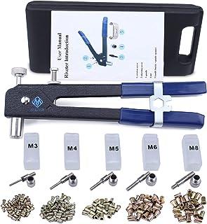 Muzata Hand Rivet Tool Nut Setter Kit,Heavy Duty Thread Blind Riveting Tools,Wrench Nut Sert,5pc Metric Mandrels and 100pc M3/M4/M5/M6/M8 Rivnuts,Rugged Carrying Case RK01