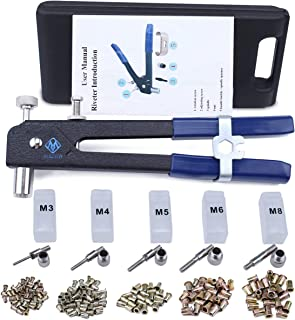 Muzata Hand Rivet Tool Nut Setter Kit,Heavy Duty Thread Blind Riveting Tools,Wrench Nut Sert,5pc Metric Mandrels and 100pc M3/M4/M5/M6/M8 Rivnuts,Rugged Carrying Case RK01