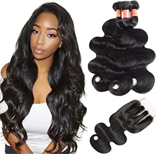 Simei Hair 8A 3 Bundles Brazilian Body Wave Virgin Hair Weave Bundles With Closure 100% Unprocessed Human Hair Extensions With Lace Closure Natural Black Color (18 20 22+16 Three Part)