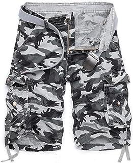 NestYu Men Multi-Pockets Slim-Tapered Loose Camouflage Cargo Twill Pant