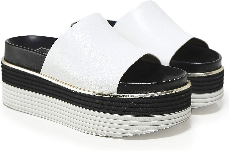 Ma&Lo Women's Leather Platform Sliders White