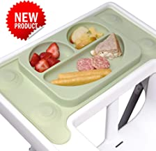 EasyMat 'Perfect Fit' Design for IKEA Antilop High Chair. Bespoke Design Baby Suction Plate and Placemat. Best Accessory for Baby led weaning. Made to Measure with Strong Suction. (Olive)