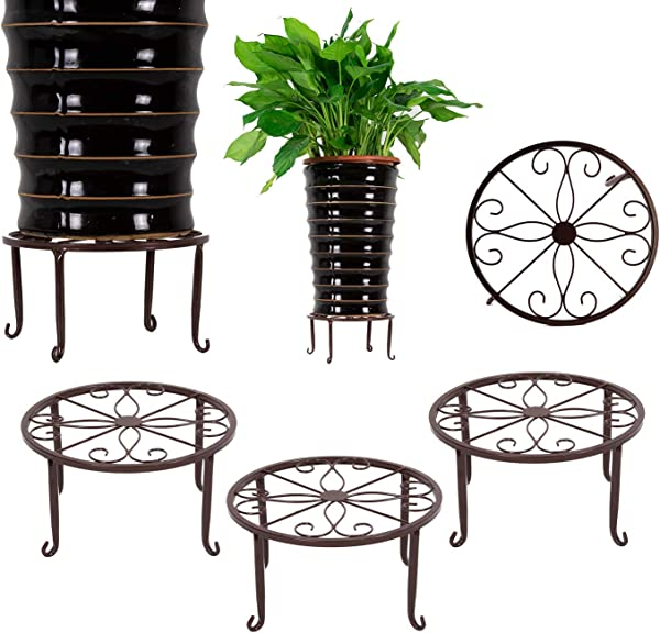 3 Pack Metal Potted Plant Stands Flower Pot Holder 9 Inches Heavy Duty 50lb Pre Assembled Round Rack Bronze Color