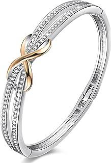 "Angelady""Forever and Ever"" Silver Infinity Bracelets Bangles for Women Rose Gold Bracelets Ladies Bracelets Birthday Valen..."