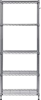 Muscle Rack WS241459-5S 5 Tier Wire Shelving with Hooks in Silver, 59