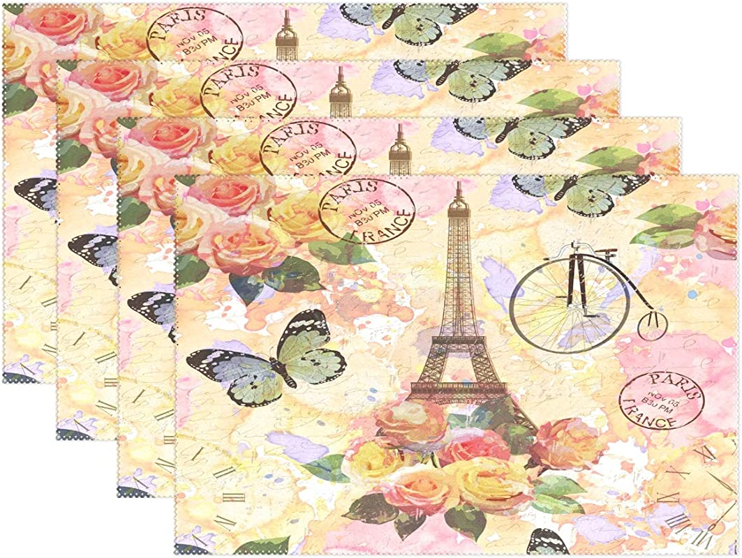 AGONA Eiffel Tower Butterfly Floral Placemats Set Of 4 Heat Resistant Non Slip Table Mats Washable Crossweave Woven Place Mats For Dining Kitchen Table Decor