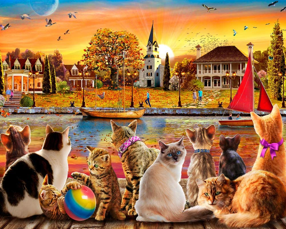 Vermont Christmas Company Dockside Cats Jigsaw Puzzle 1000 Piece