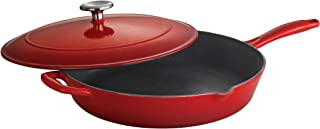 Tramontina 80131/058DS Enameled Cast Iron Covered Skillet, 12-Inch, Gradated Red