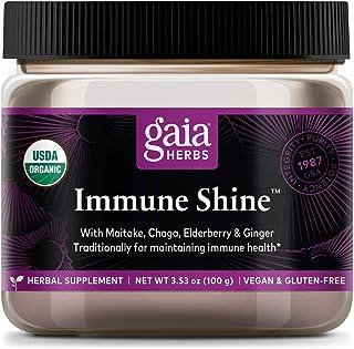 Gaia Herbs Immune Shine Mushroom and Herb Powder, Immune Support, Chaga Mushroom, Maitake Mushroom, Elderberry, Ginger, Da...