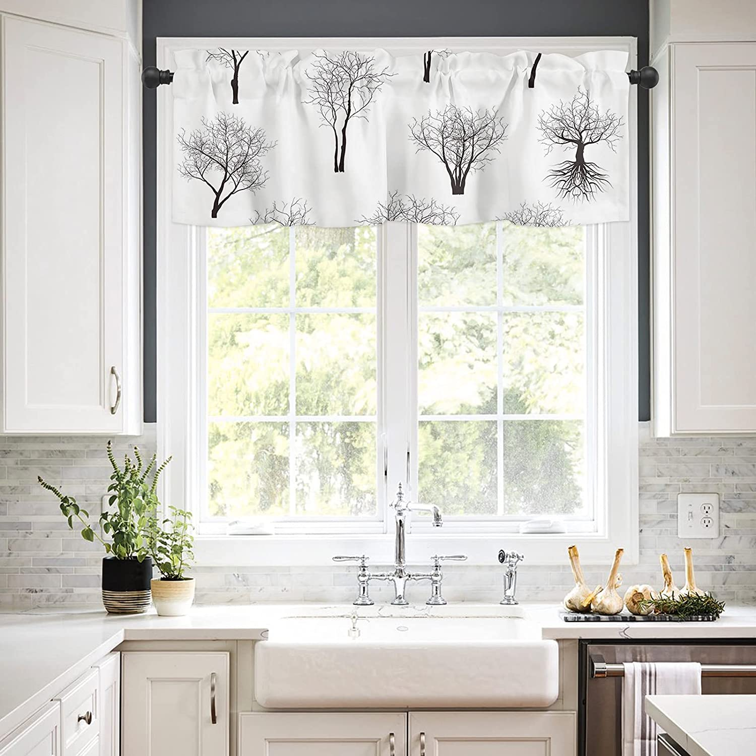 Rod Max 46% OFF Pocket Window New sales Valances Curtains Kitchen Tree Black Bare for