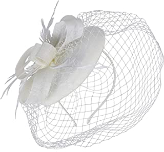 Forbeautiful Women's 1920s Veil Flower Kentucky Derby Fascinator Feather Mesh Net Headpiece Tea Party Headwear (Beige)