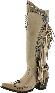 DOUBLE D RANCH Womens Rusty Ravine Bone Stud Fringed Boot
