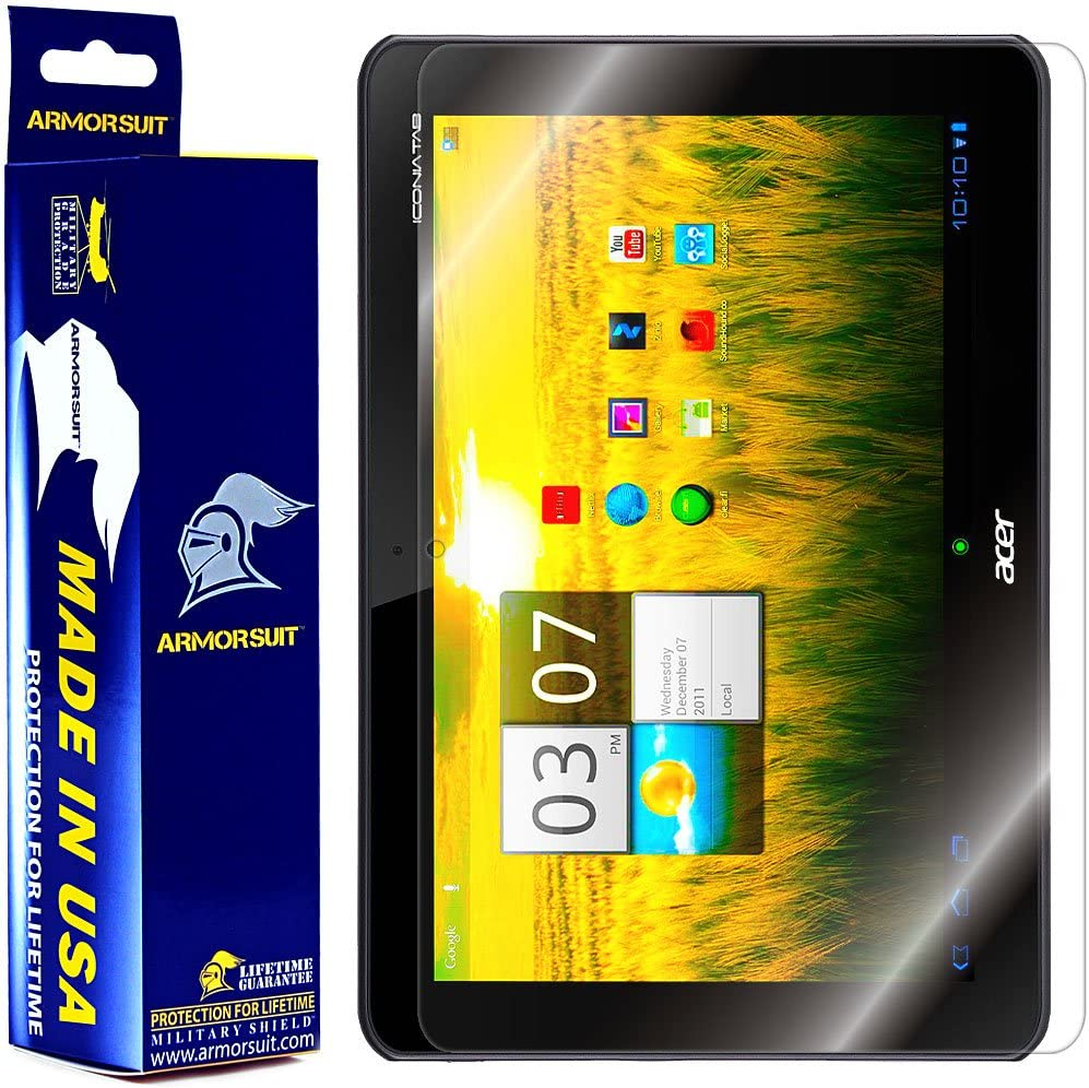 ArmorSuit MilitaryShield Screen Protector for Acer Iconia Tab A200 Tablet - [Max Coverage] Anti-Bubble HD Clear Film