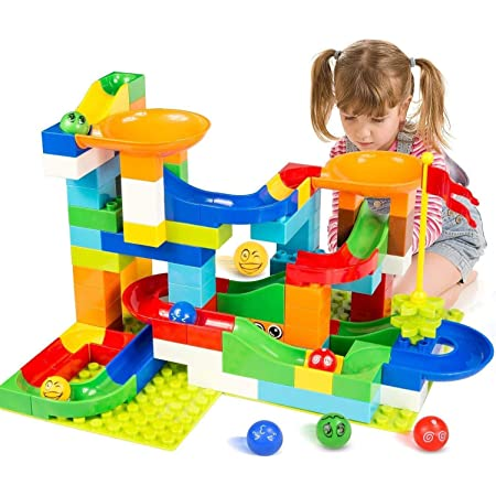 Maze Assembly Instructions Included Top Right Toys Trix Track Upstairs Wooden Marble Run for Kids with 55 Construction Pieces and 2 Balls