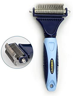 Corspet Professional Dematting Brush Suitable for Medium and Long Hair Puppies, Dogs and Cats – 2 Sided Stainless Steel Blades to Remove All Loose Undercoat and Comb Tangled Hair