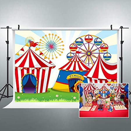 8x8FT Vinyl Wall Photography Backdrop,Colorful,Circus Performer Riding Background for Baby Shower Bridal Wedding Studio Photography Pictures