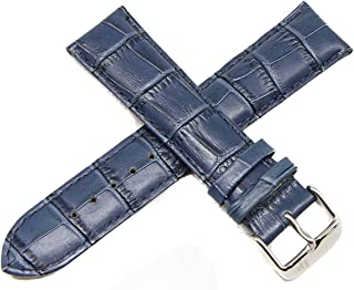 "Lucien Piccard 22MM Alligator Grain Genuine Leather Watch Strap Band 8"" Blue with Silver LP Buckle"