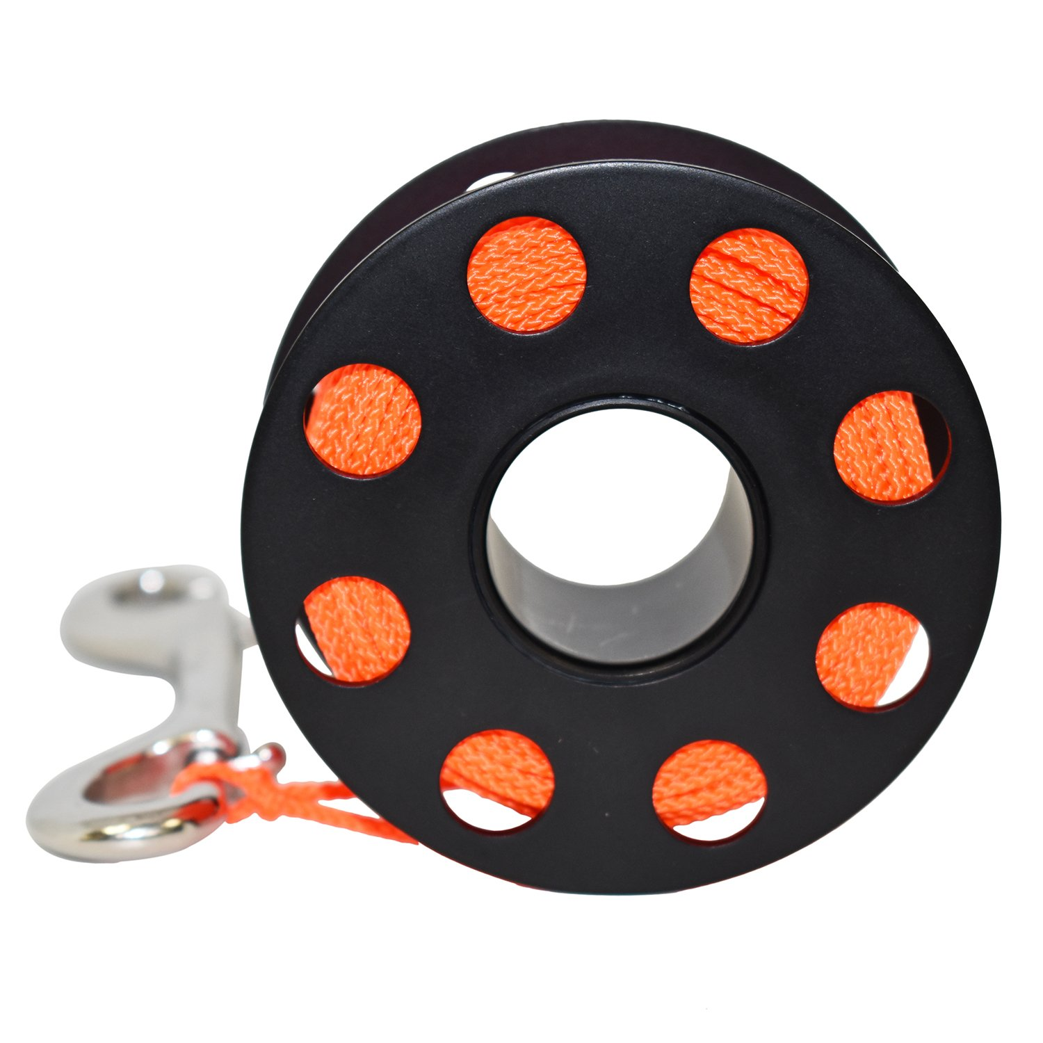 30M stainless steel finger reel with boltsnap.choice of colours Red Hat Diving