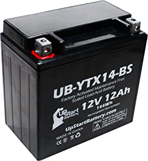 Replacement for 2005 Honda TRX350 Rancher 350 CC Factory Activated, Maintenance Free, ATV Battery - 12V, 12AH, UB-YTX14-BS