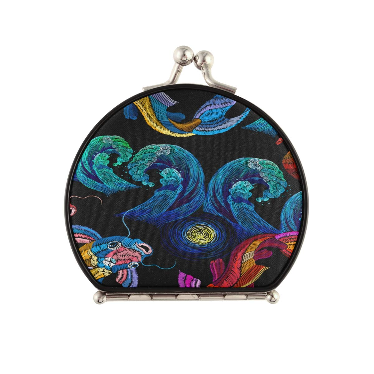 Popular brand Magnifying Compact Cosmetic OFFicial store Mirror Embroidery Koi Fish Blue Carp