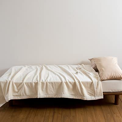 京都西川 綿毛布 シングル オーガニック コットン 日本製 綿100% 吸湿 洗える 8825 アイボリー[210cm]ロング1311 シングル