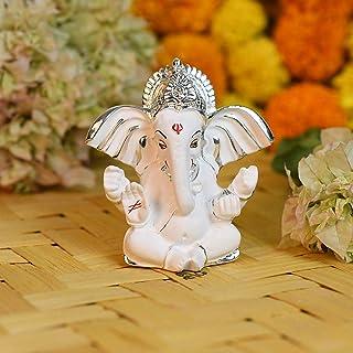 CraftVatika Ceramic Silver Plated Terracotta Long Ear Ganesha Idol Statue for Car Dashboard God of Luck & Success with Gif...