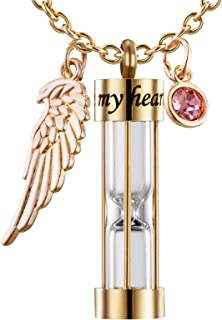PREKIAR Cremation Urn Necklace for Ashes Time Hourglass Memory Jewelry Pendant Keepsake with Angel Wing and 12 Birthstones Forever in My Heart (Golden Hourglass)