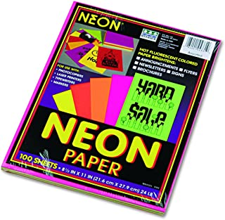Pacon 104331 Array Colored Bond Paper, 24lb, 8-1/2 x 11, Assorted Neon (Pack of 100 Sheets)