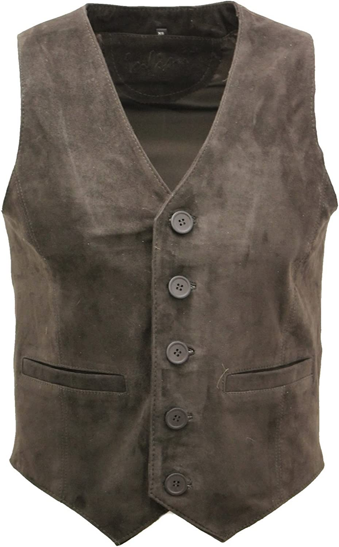 Men's Goat Suede Classic Smart Brown Leather Waistcoat