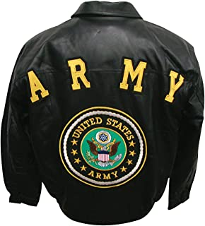 Army Military Leather Jacket Features Coordinating Logos