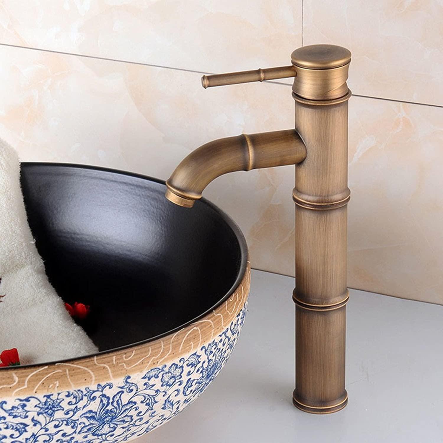 Hlluya Professional Sink Mixer Tap Kitchen Faucet Antique basin bamboo-basin mixer full copper single-style hot and cold Faucet