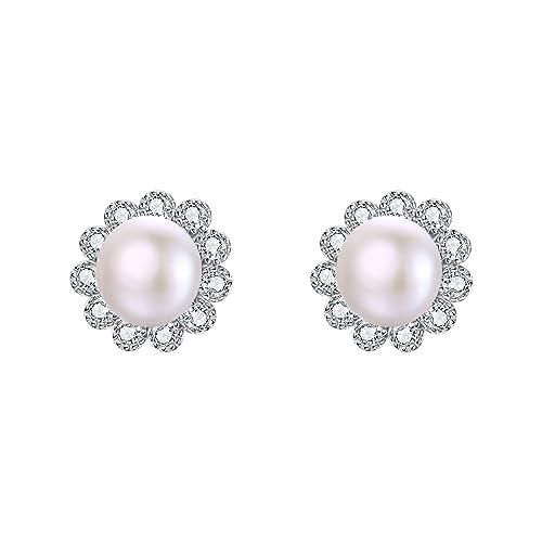 Earrings Pearl Stud Earrings Women 925 Sterling Silver Sunflower Freshwater Cultured Pearl Earrings