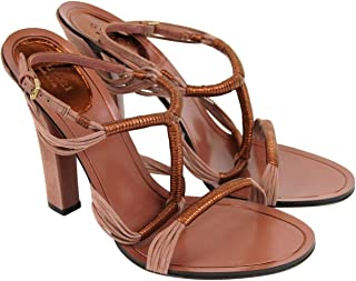 8959ee013fca Gucci Women s Rose Anita Metallic Leather Suede Sandal 309668 6489