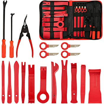 FXWSKY 18Pcs Auto Trim Removal Tool Kit, Auto Upholstery Tools Fastener Remover Car Panel Removal Trim Clip Plier Set with Storage Bag