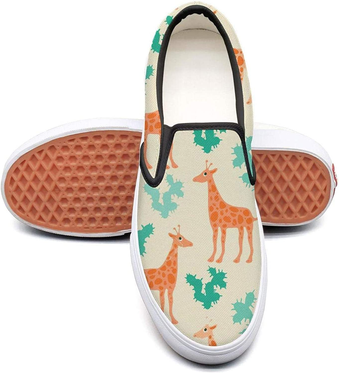 SOFIE MARTIN Giraffes and Cactus Cool Pretty Women Canvas Sneakers Low Top Lightweight Air Permeable