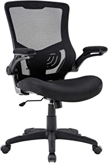 Home Office Chair Desk Chair Mesh Computer Chair with Lumbar Support Flip Up Arms Modern Task Chair Adjustable Swivel Rolling Executive Mid Back Ergonomic Chair for Adults, Black