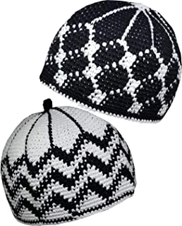 Set 2 Muslim Kufi Hat AMN112 Skull Cap Knit Beanie Islam Crochet Takke