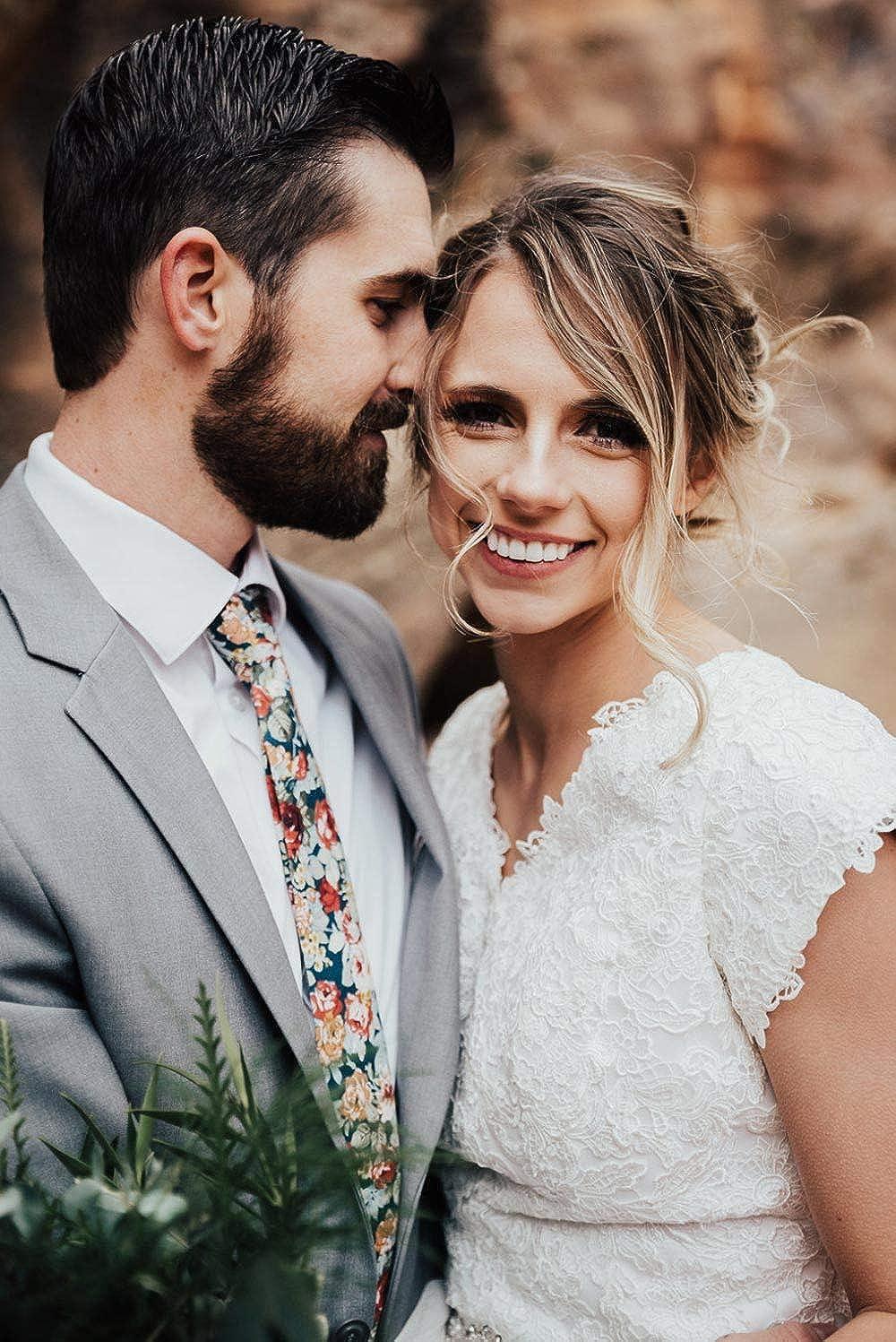 DAZI Men's Skinny Tie Floral Print Cotton Necktie, Great for Weddings, Groom, Groomsmen, Missions, Dances, Gifts. (Mardi) : Clothing, Shoes & Jewelry