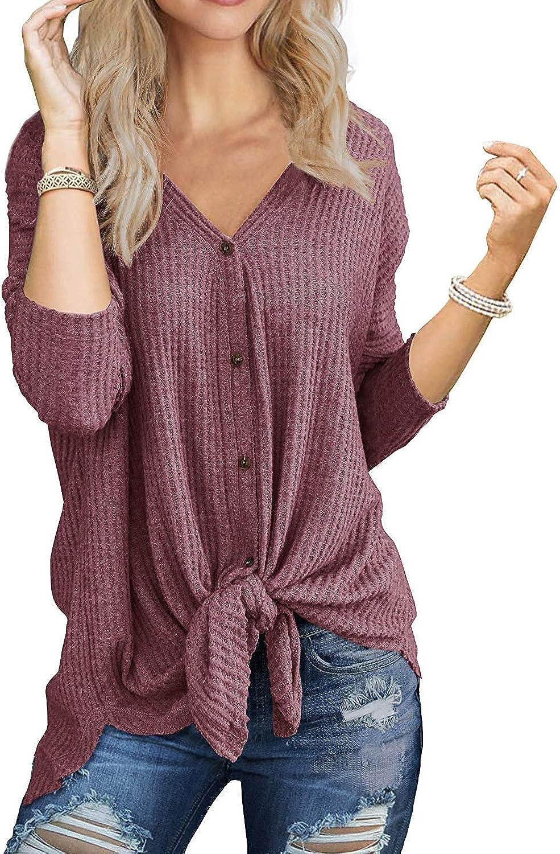 I2CRAZY Women's Casual Twist Knot Tunics Tops Blouses Tshirts