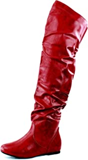 Best red thigh high boots flat Reviews
