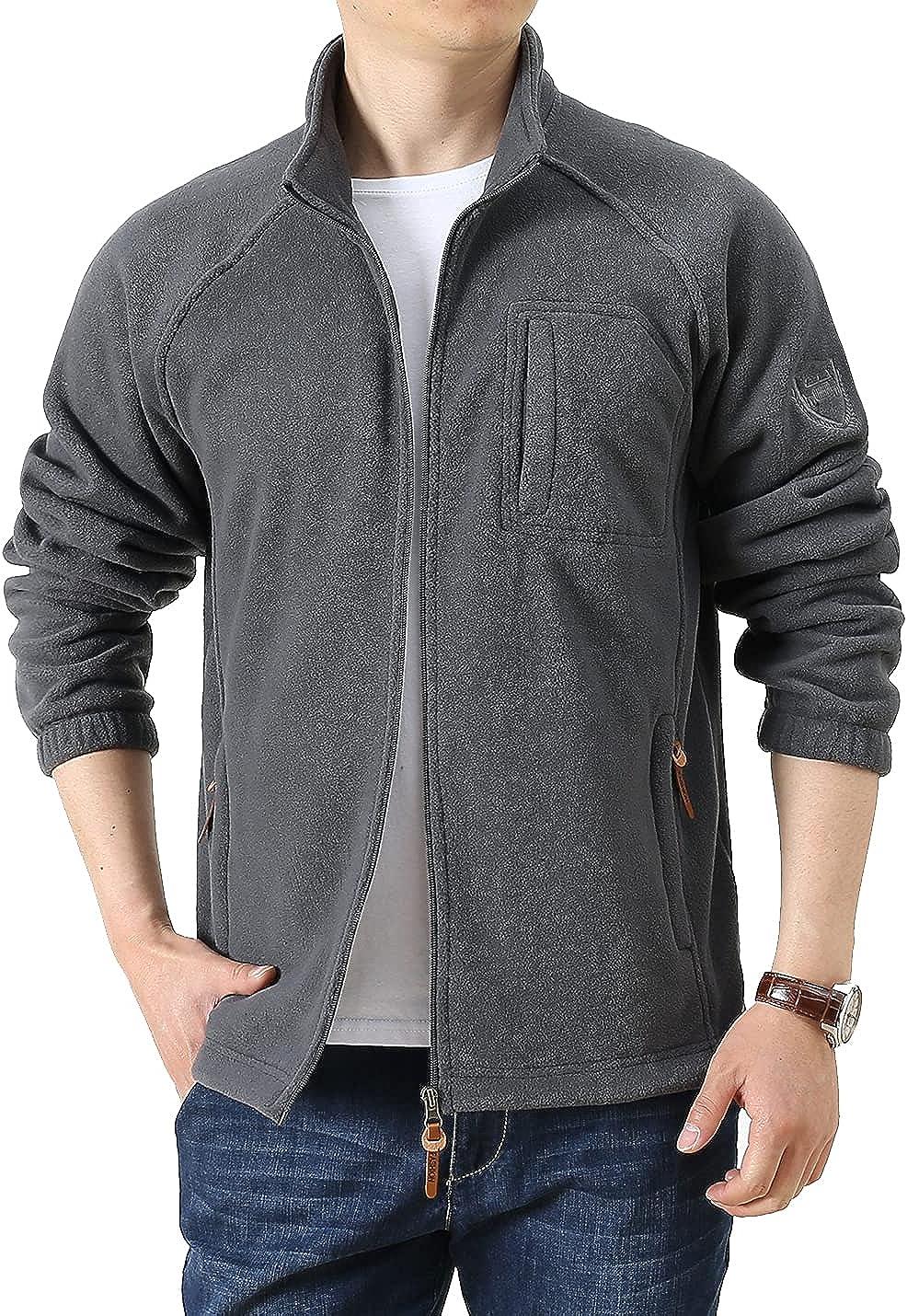 Locachy Men's Full-Zip Fleece Jacket Windproof Lightweight Outdoor Jackets with Pockets Hiking Work Outwear