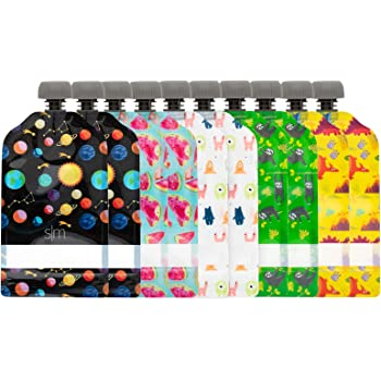Simple Modern Reusable 10-Pack-Baby Food Storage Toddler Kids Squeezable Pouch Washable Freezer Safe-5 Fun Designs, 5oz, Multi-Colored