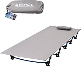 YAHILL Ultralight Folding Camping Cot Sleeping Collapsible Portable Foldable Bed Aluminum Replacements for Tent Backpack, Adults Youth Outdoor Travel Hiking Fishing Hunting