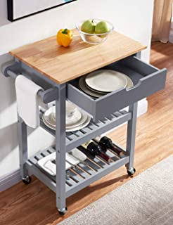 Linio-home Rolling Kitchen Island Cart with Wheels, Grey Kitchen Cart with Storage and Drawers, Small Moveable Bar/Microwave Cart for Dining Rooms Kitchens and Living Rooms