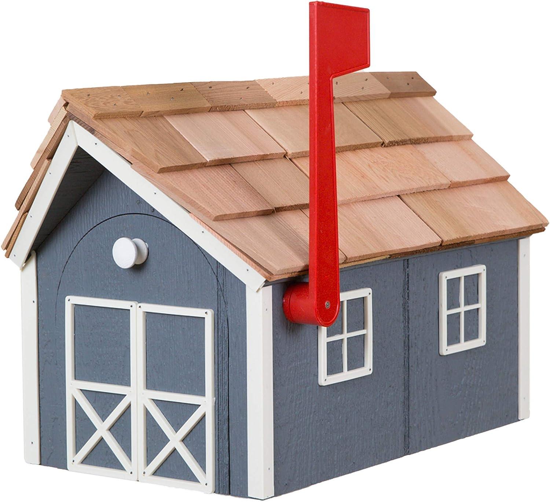 Amish Cedar Roof Wooden Mailbox with Dark Window Gr Max 54% OFF Lowest price challenge Trim Door