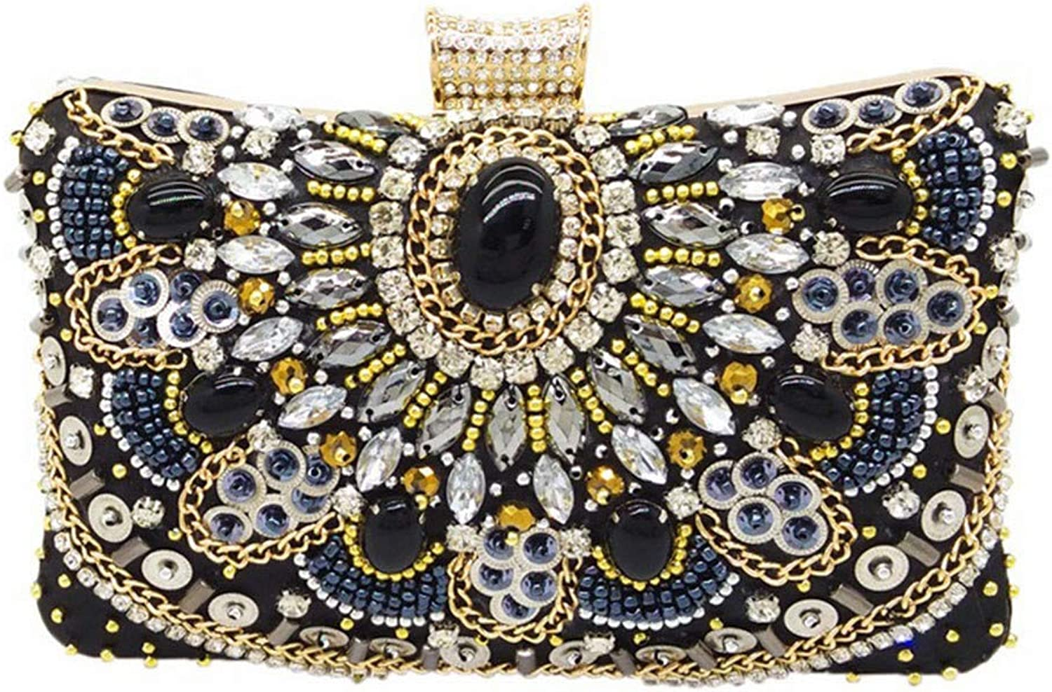 ASHIJIN Vintage Woman Black Beaded Clutch, Handbags for Women, Metal Case Clutches Wedding Party Handbags Purses